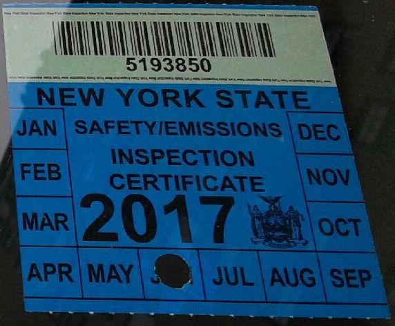 New York State Inspection Sticker Location Kamos Sticker