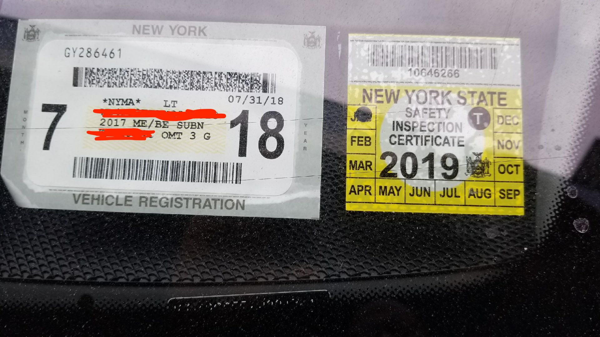 Sample DMV Inspection Sticker