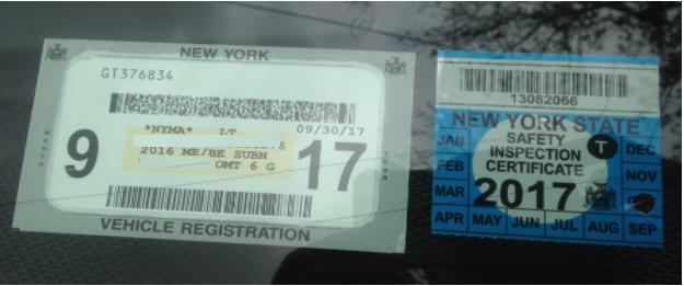 DMV Inspection Sticker Sample
